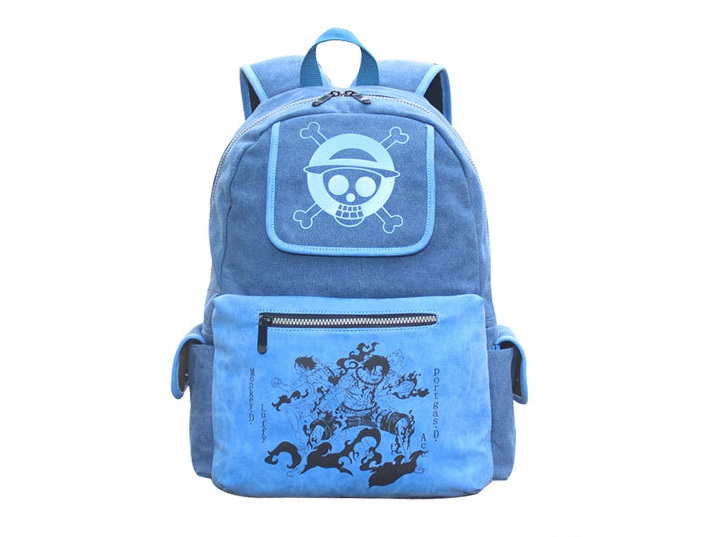 ФОТО Hot anime backpack One piece Ace pattern BLUE color canvas backpack AB189
