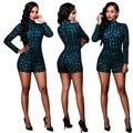 Mujeres Sexy Manga Larga de Cuello Alto Con Lentejuelas Playsuits Mamelucos Shorts Ladies Bodycon Clubwear Ropa