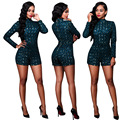 Womens Sexy Long Sleeve Turtleneck Sequined Rompers Shorts Ladies Bodycon Playsuits Clubwear Clothes