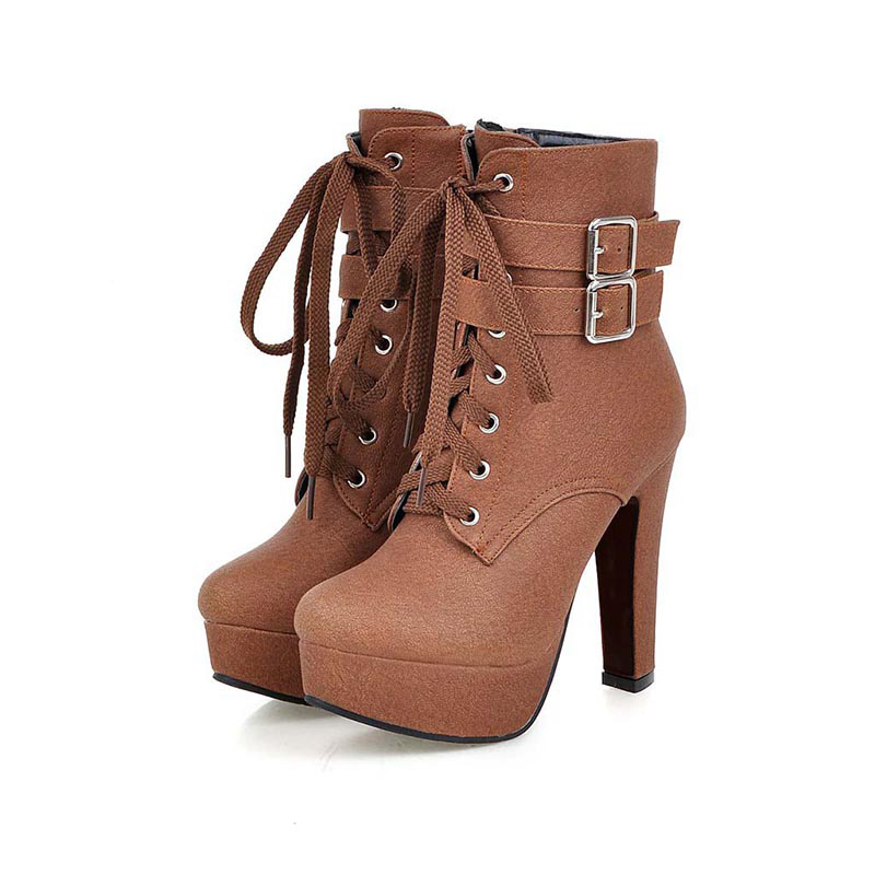 MCCKLE Winter Women Fashion Ankle Boots 2017 Style Chunky High Heels Motorcycle Boots Metal Buckle Round