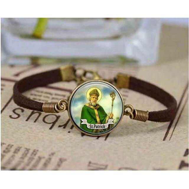 St Patrick Bracelet Saint Art Cabochon Good Luck Jewelry Religious Bracelets Gift Bangle