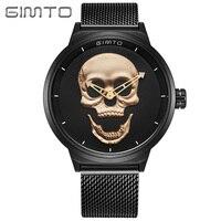GIMTO Unique Punk 3D Crâne Hommes Montre Marque De Luxe Grand Cadran Or Mâle En Acier Militaire Montres Étanches Horloge Sport Relogio