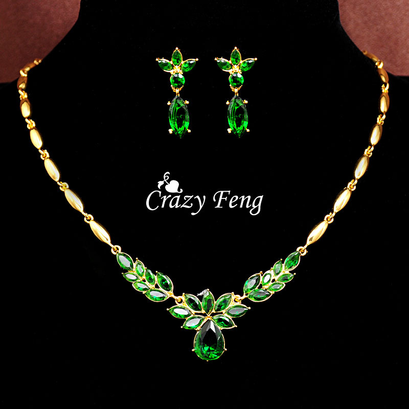 Crazy Feng Wedding Jewelry Sets Luxury CZ Crystal Necklace Drop Earrings Pendant Free shipping Gold-color Mother's Day Gift