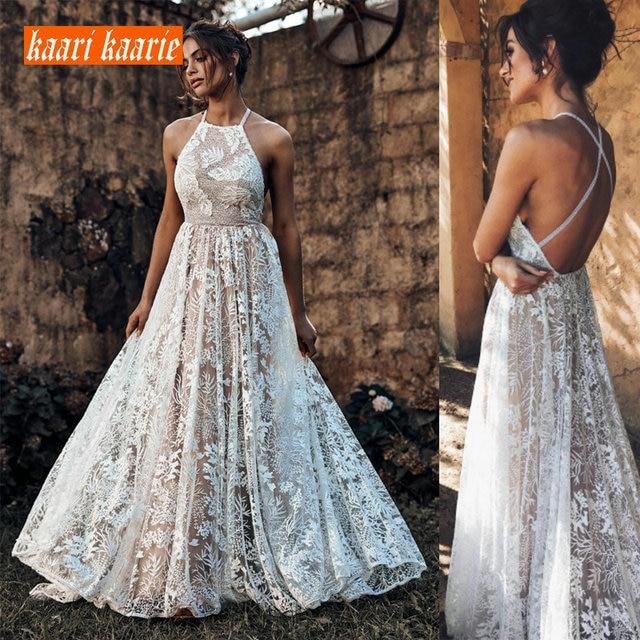 Luxury Boho Lace Long Wedding Dress 2019 Elegant Wedding Gowns Women Party Bohemian Scoop Backless Beach rural Bride Dresses New