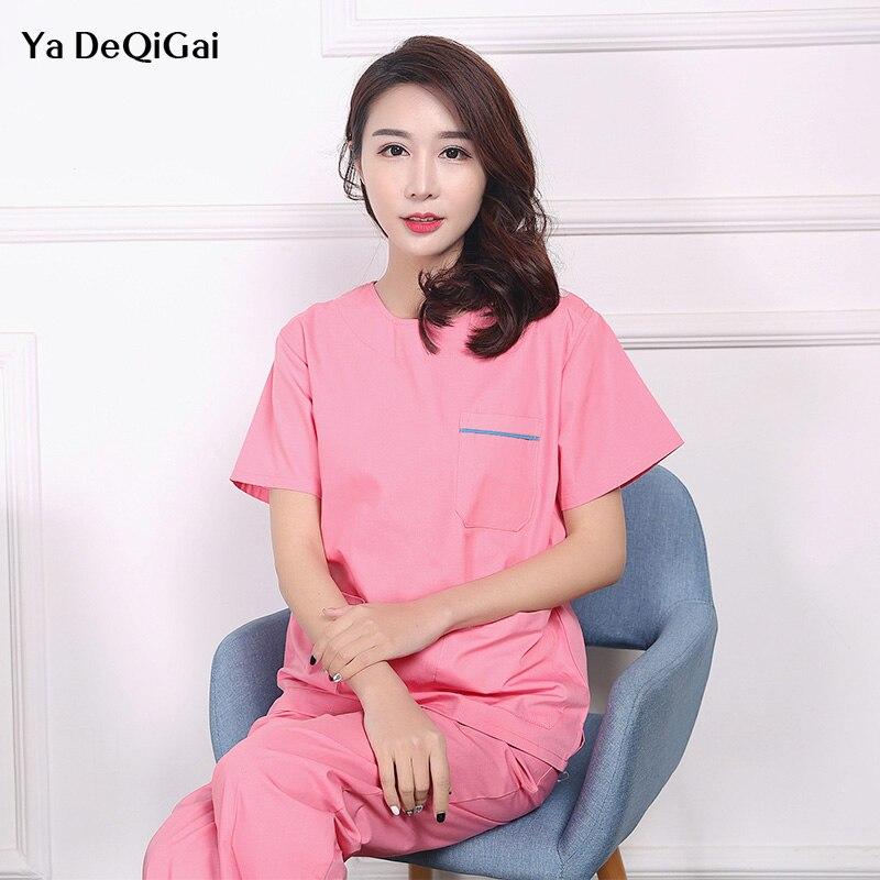 High Quality Medical Surgical Cotton Pharmacy Nurse Uniform Sets Beauty Salon Sets Spa Uniform Unisex White Coat Women Scrubs