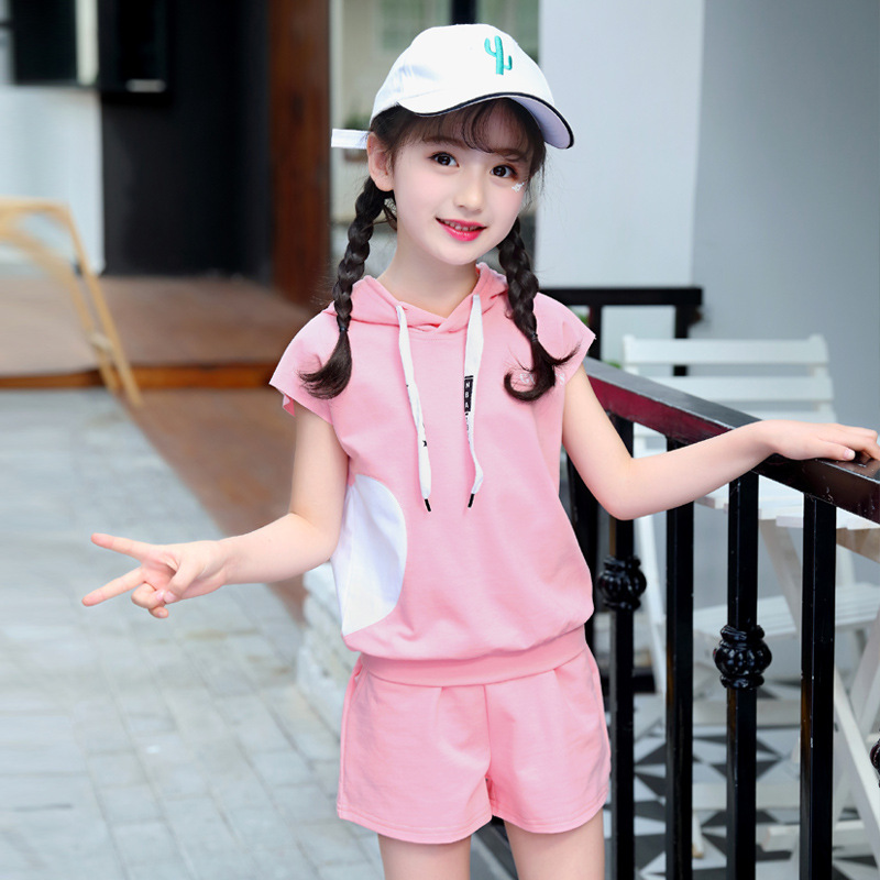 Summer Girl Suit Short Sleeve Shorts Children Clothing Casual Cotton Kids Costume Two-Piece Sports Set For Girls