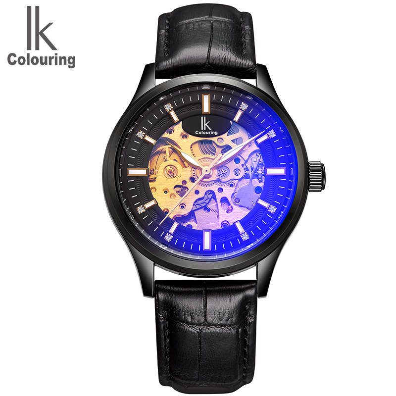 2017 New Arrivals IK Men's Skeleton Watches Auto Mechanical Wristwatch Genuine Leather Gift Box Free Ship купить