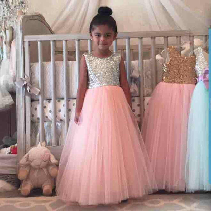 2018 Pink Sequined Glitter Tulle Princess Girls dresses Toddler Baby Girls Wedding Fluffy Dress Flower Girl clothing,Tutu dress 2018 pink sequined glitter tulle