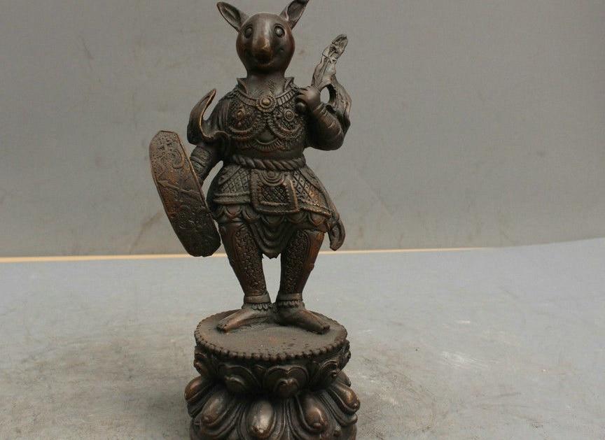 9'' China Folk Fengshui Brass Statue Zodiac Warrior Rat Sculpture