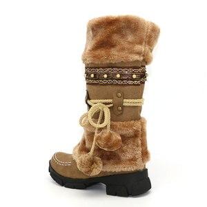 Image 3 - حذاء شتوي جديد للركبة من Taoffen مصنوع من الفرو السميك عالي الكعب للنساء حذاء طويل مثير للثلج مقاس كبير 35 43