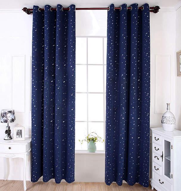 NAPEARL Blackout curtains kid bedroom cartoon star design navy blue sky  window treatments girl boy room home decoration Grommet