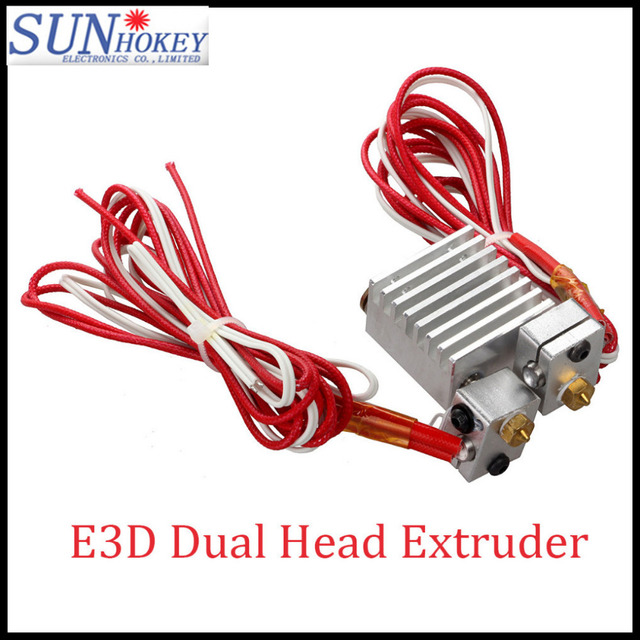 3D Printer parts long distance Extruder All metal E3D Dual Head Extruder Copper Fittings Multi-extrusion  for 0.4mm/1.75mm