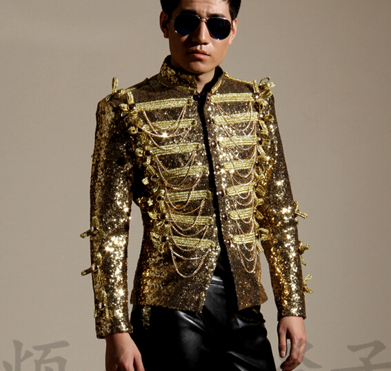 Personality Men's British Style Sequins Slim blazers Jacket costumes Stage show performance coat Nightclub bar singer  outwear