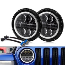 Safego 2pcs 500W 7Inch H4 H13 LED Headlight 8 Beads DRL Halo Angel Eyes High Low Beam For Jeep Wrangler OffRoad 4x4 Motorcycle