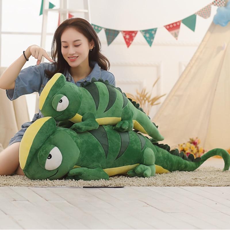 1pc 100cm Large Simulation Dinosaur Plush Toys Stuffed Animals Plush Chameleon Pillow Doll Toys for Children Girls Gifts