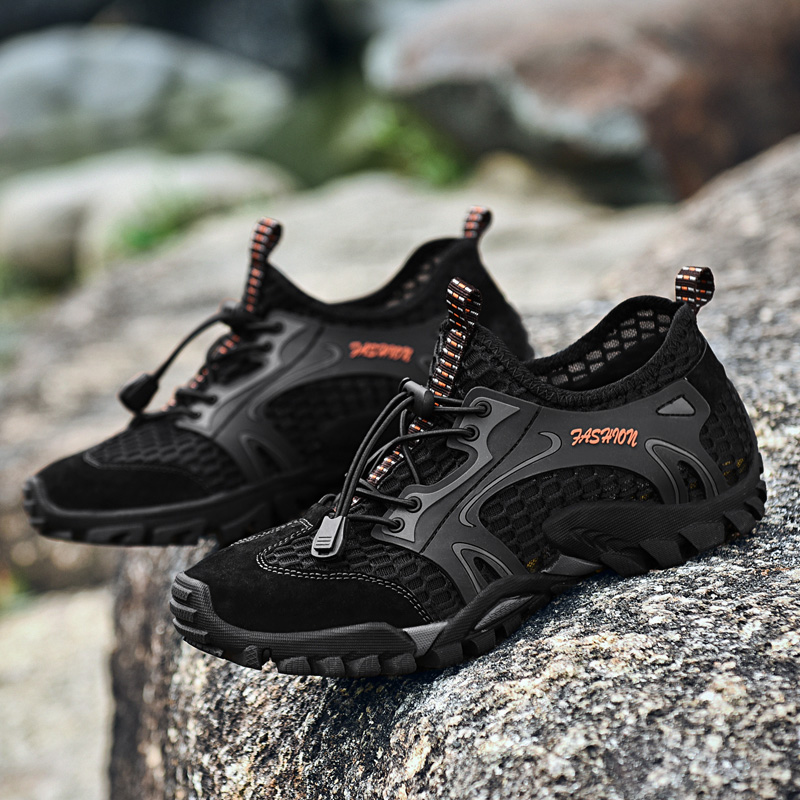 Brand Sneakers 2018 New Mens Genuine Leather Hiking Shoes Breathable Climbing & Fishing Shoes New Outdoor Trail Trekking Shoes