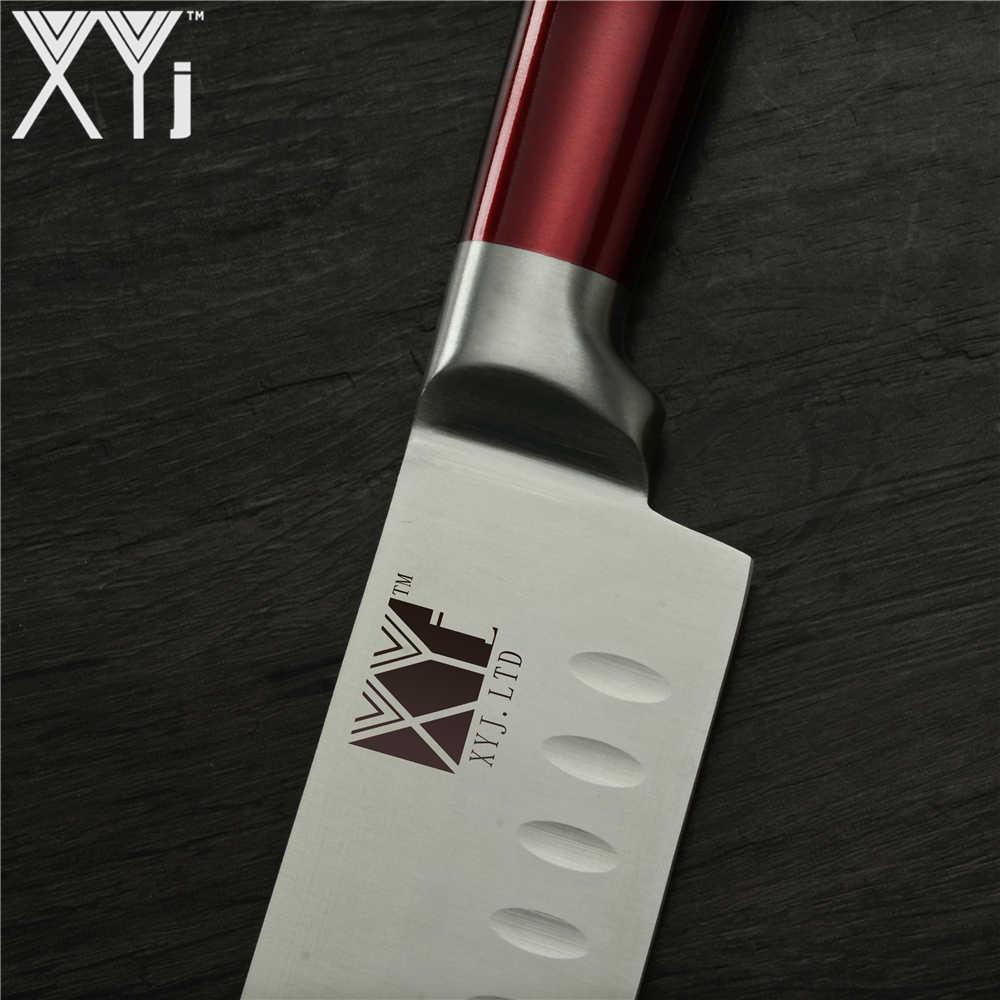 XYj Saco Conjunto Faca Do Chef de Cozinha Facas De Aço Inoxidável Completa Tang Lâmina Afiada Faca de Cozinha Livre Titular Faca de Cobre Vermelho
