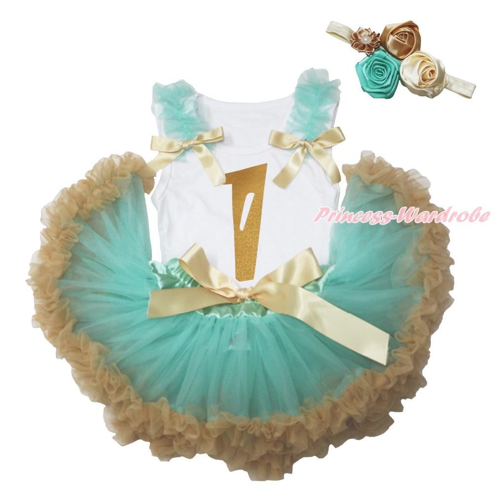 Gold Birthday 1ST White Shirt Top Aqua Blue Goldenrod Girls Baby Skirt Set 3-12M MAPSA0831 aqua nl ultra white fish белая рыба 100m 0 18mm 3 8kg