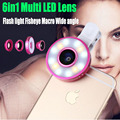 2017 LED Flashlight Fisheye Fish Eye Lens Wide Angle Macro Lenses For Samsung Galaxy S3 S4 S5 S6 S7 edge note 4 5 ZTE Smartphone
