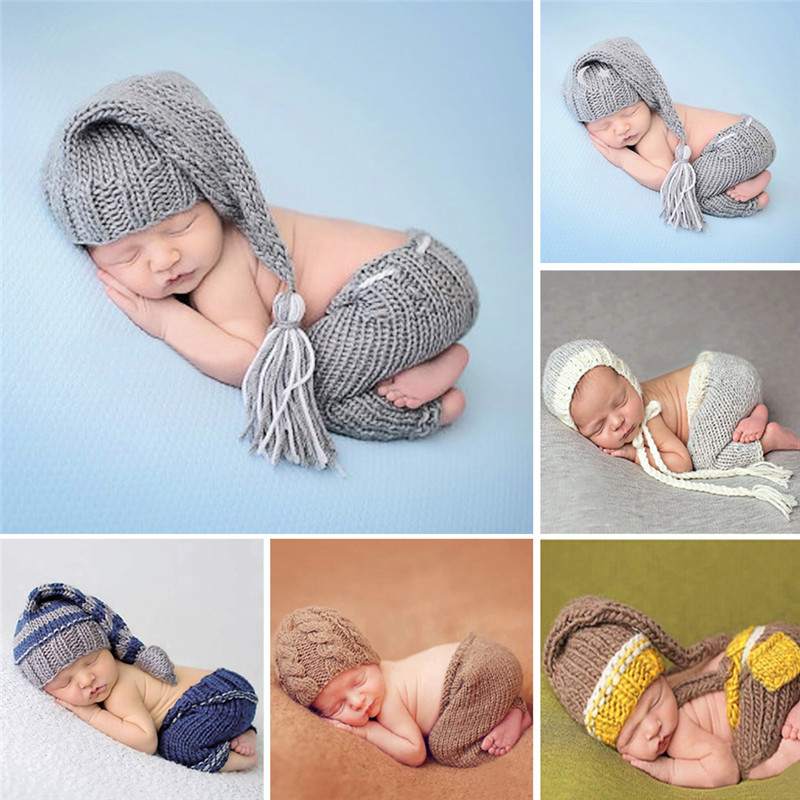 Handmade Knitting Soft Hat Pants Set Baby Clothing Set for 0-4 Months Winter Baby Costumes Suits Newborn Baby Photography Props handmade crochet minion newborn photography props knitting baby boy hat overall set photo s accessories newborn clothing