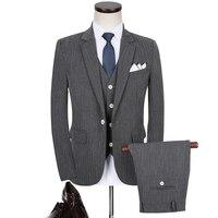 3pc Men Tuxedo Autumn Winter New 2017 Slim Fit Men Suit Dress Groom Wedding Suits Business