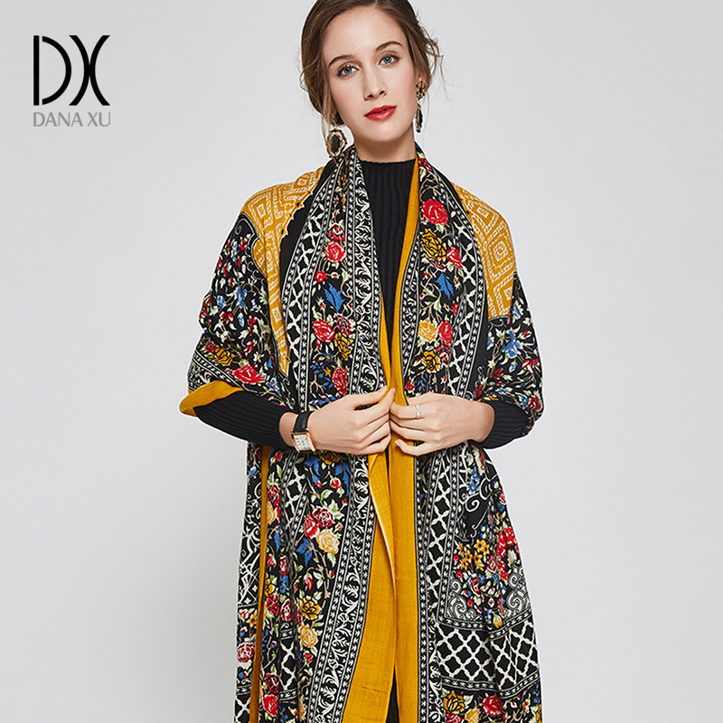 DANA XU 2019 Neue Luxusmarke Übergröße 100% Wolle Gelb pashmina - Bekleidungszubehör - Foto 2