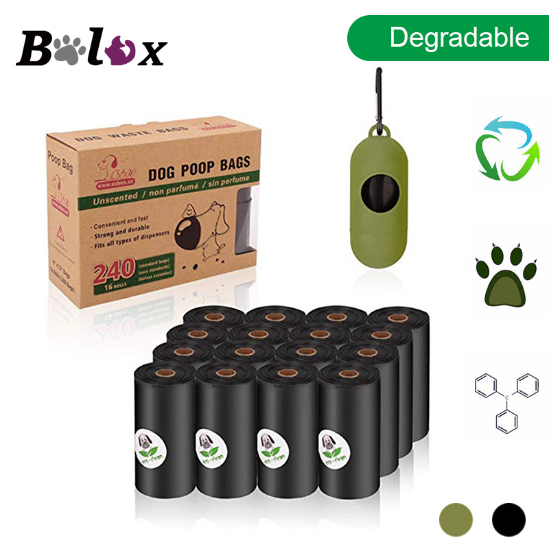 BOLUX Degradable Dog Poop Bags Eco Friendly Pet Waste Bags Dispenser Outdoor Carrier Pet Poop Bags