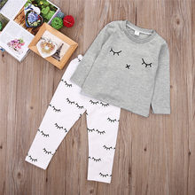 Autumn Bbay Sets Clothes Toddler Kids Baby Girls Sets Eye Smile Long Sleeve Gray T-shirt Tops+Pants 2PCS Set Outfits Clothes(China)