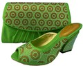 Green Color Shoe And Bag Set Decorated with Rhinestone Italian Matching Shoe And Bag Set Colorful Stone Wedding Set 1308-25