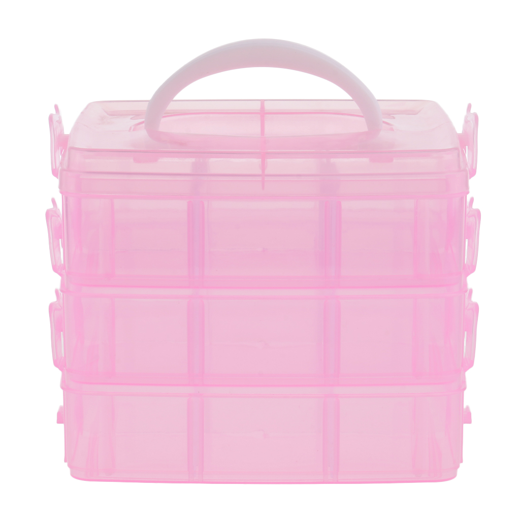 3 Tiers Empty Plastic Storage Case Nail Art Earring Jewelry Container Organizer Box - Clear & Pink Optioanl