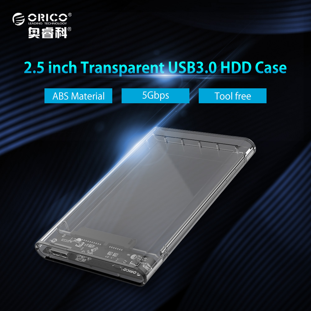 ORICO 2.5 inch Transparent HDD Case USB3.0 to Sata 3.0 Tool Free Support UASP Protocol SATA3.0 Hard Drive Enclosure sata usb 3 0 blue orange hdd case with 250g hard disk heating release rubber case 2 5 fast reading speed case