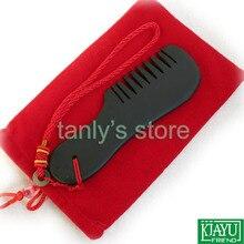 Al por mayor y Al Por Menor Negro Bian Stone Massage Guasha comb/Natural bian-piedra cuidado de la salud (130x40mm)