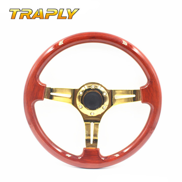 TRAPLY  New Style 350MM Classic Wooden Racing Steering Wheel With Golden Spoke