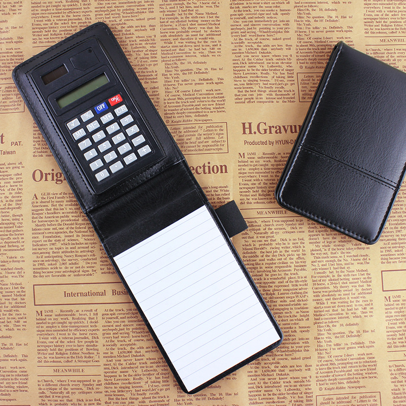RuiZe stationery small pocket notebook A7 PU leather notepad business work note book daily memo planner with calculator