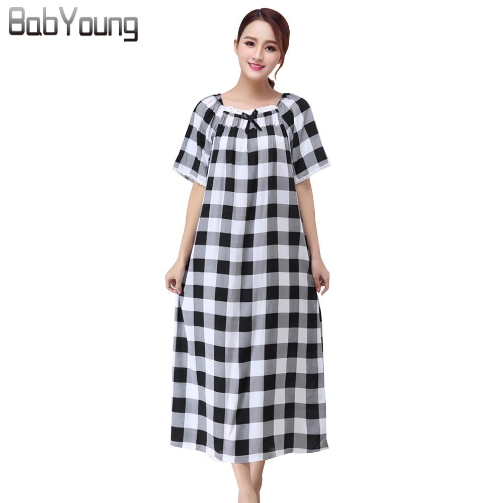 BabYoung Summer Women Nightgowns Cotton Sleepshirts Plaid Pattern Lace Short Sleeve Sleep Dress Round Neck Mid-Calf Sleepwear