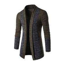 Men Fashion Color Splice Front Open Knitted Cardigan Male Casual Long Sleeve Knitwear Coat Outwear Jacket Tops