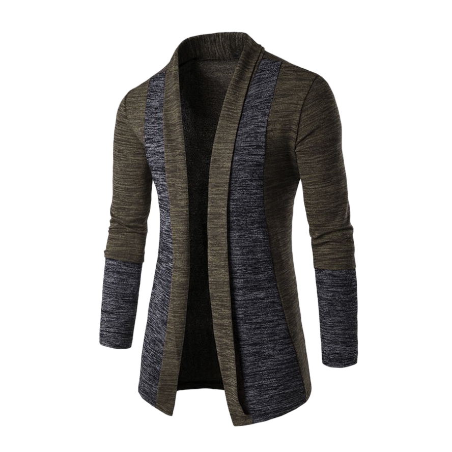 Men Fashion Color Splice Front Open Knitted Cardigan Male Casual Long Sleeve Knitwear Coat Outwear Jacket Tops