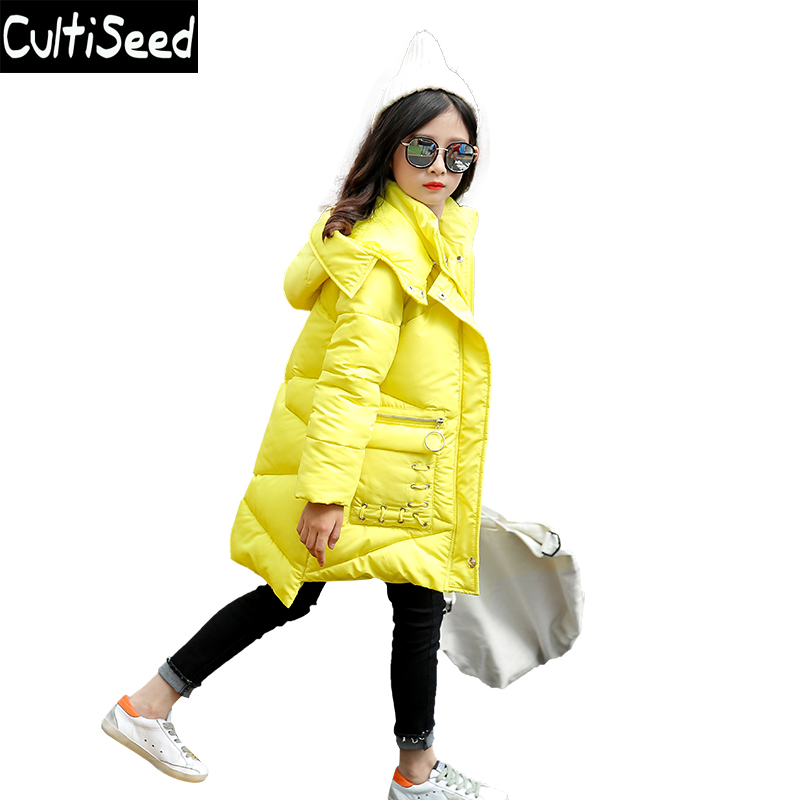 Children Hooded Cotton Parkas Coats Girls Solid Color Think Warm Long Cotton Parkas Outerwear with Pockets Kids Casual Coat children winter coats jacket baby boys warm outerwear thickening outdoors kids snow proof coat parkas cotton padded clothes