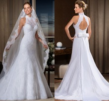 2015 Vestido de noiva Appliques A-line Hi-neck wedding dresses vestido casamento Opne back Wedding Gowns