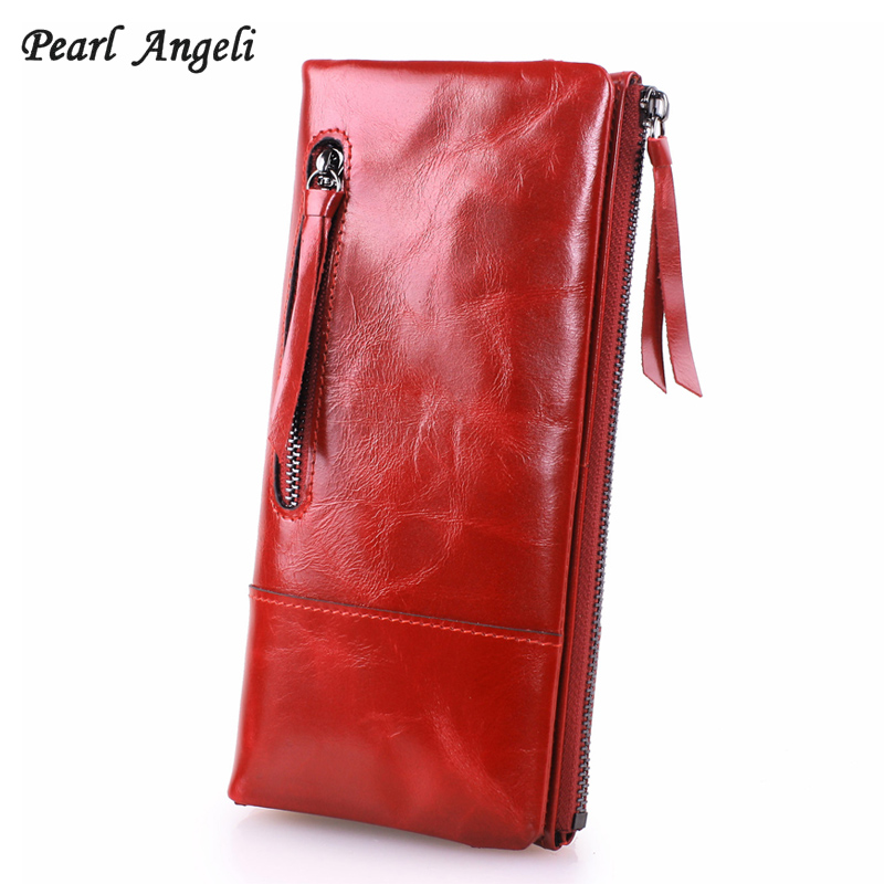 Pearl Angeli Genuine Leather Long Women Wallets Female Card Holder Coin
