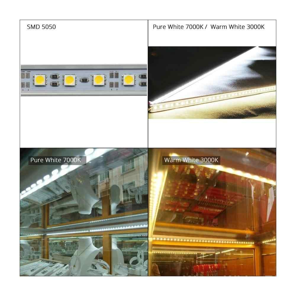 6 قطع 50 سنتيمتر dc 12 فولت smd 5050 36 المصابيح u-نوع الصلب جامدة قطاع شريط ضوء الألومنيوم قذيفة مع غطاء حليبي شفاف led شريط الضوء