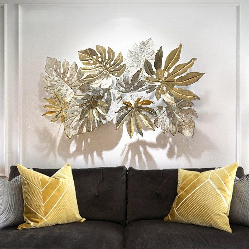 Style européen en fer forgé feuille d'or décoration murale en trois dimensions porche tenture murale décor à la maison salon R1355