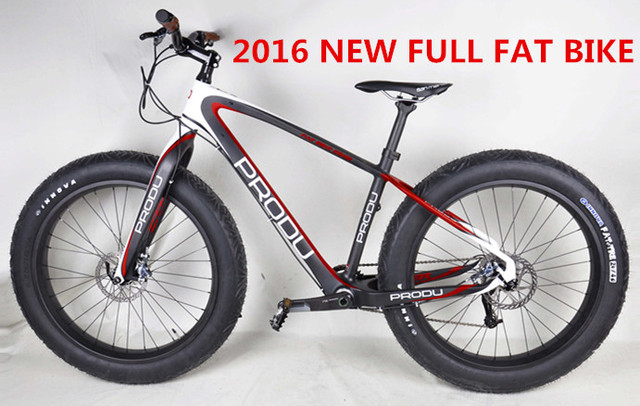 """2016 new full carbon complete 26er fat bicycles with PRODU designs, super light 26"""" fat bike with groupset chinese factory"""