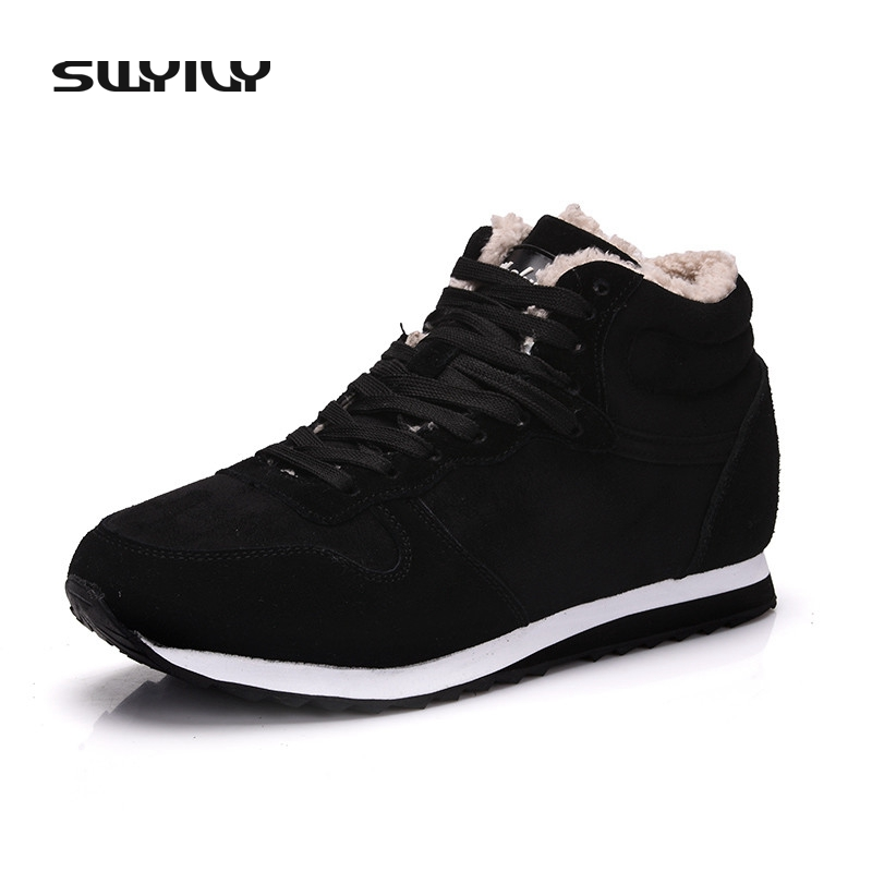 SWYIVY Super Warm Suede Leather Winter Women Boots Plush Ankle Boots Outdoor Unisex Snow Shoes Female Shoes Plus Size 48 yin qi shi man winter outdoor shoes hiking camping trip high top hiking boots cow leather durable female plush warm outdoor boot