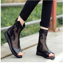 34 -40 Women Genuine Leather Mesh Cool Boots Girls Summer Peep Toe Platforms Wedges Students Net cloth Shoes Young Cut-Outs Shoe