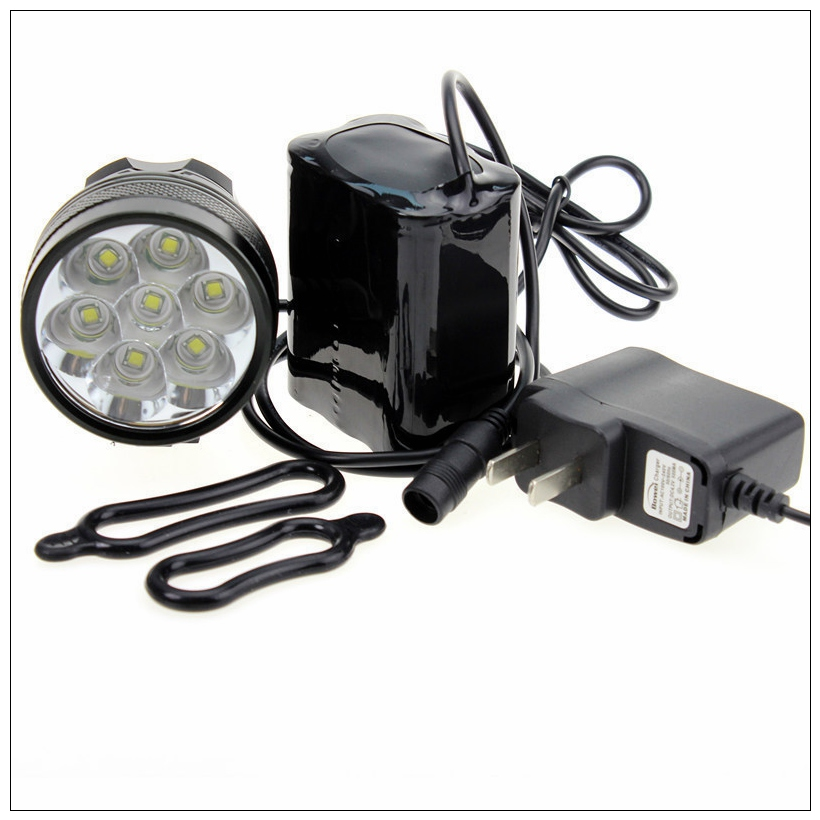 Bicycle Bike Light 7*XML T6 LED Waterproof Bright Front Flash Light headlamp + 8.4V Rechargeable Battery Pack + Charger sitemap 263 xml