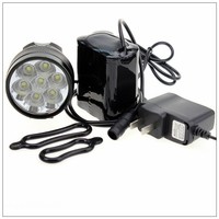 Bicycle Bike Light 7*XML T6 LED Waterproof Bright Front Flash Light headlamp + 8.4V Rechargeable Battery Pack + Charger