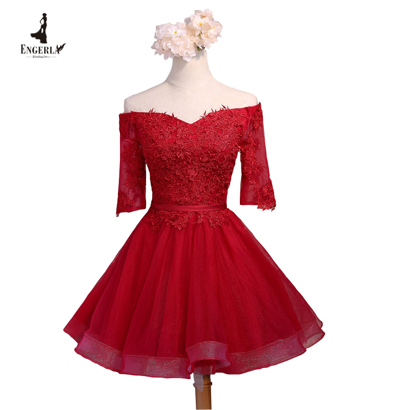 Cheap red lace cocktail dress