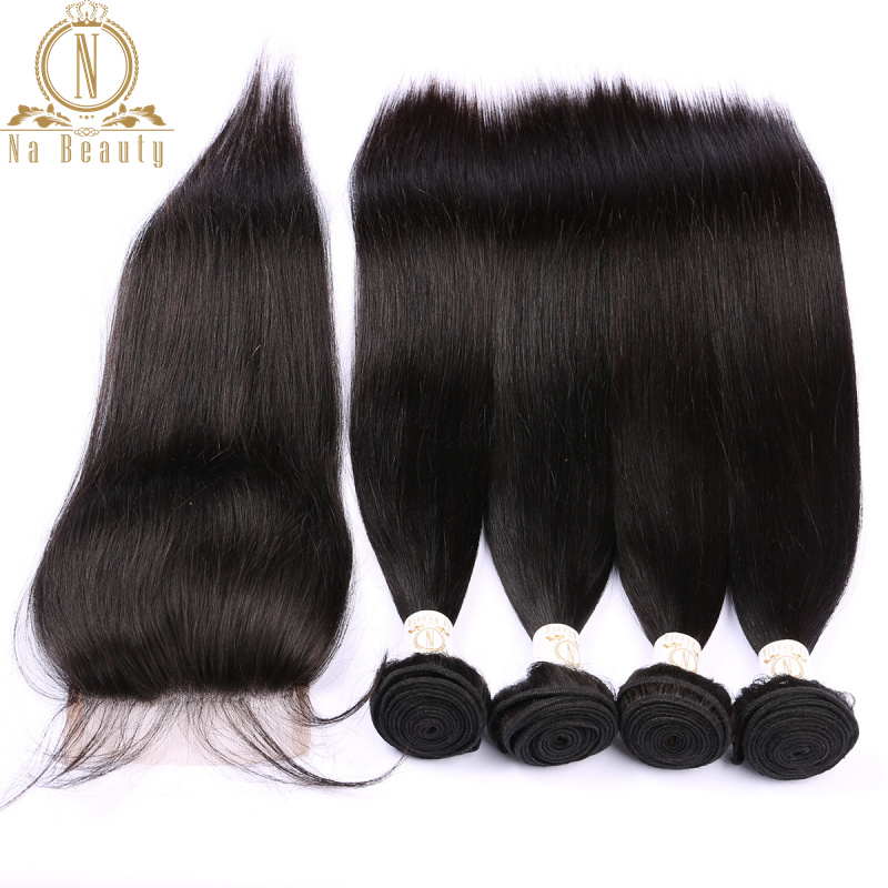 Brazilian Straight Human Hair 4 Bundles Remy Hair With 4*4 Lace Closure Wefts With Closure Free Part Bundles Deal Black Woman