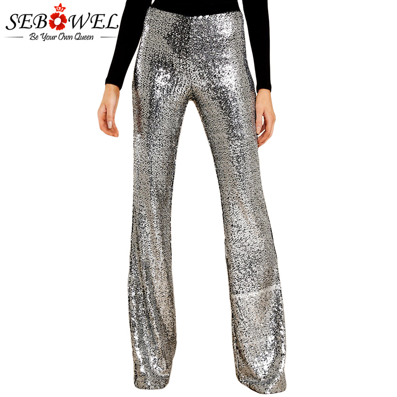 SEBOWEL Women Sequin   Wide     Leg     Pants   Glitter High Waist Flared   Legs     Pant   Black/Silver Sparkle Trousers Streetwear Club/Dance Wear
